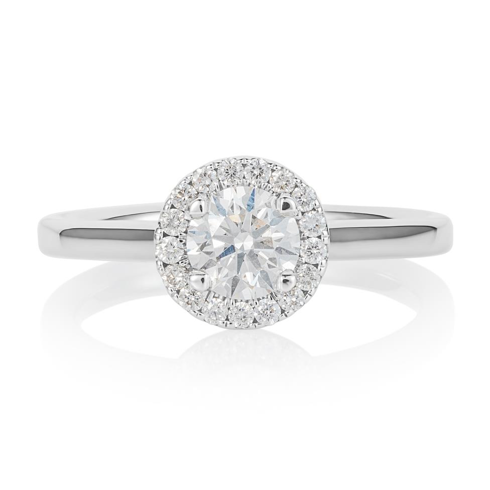 Platinum Diamond Halo Engagement Ring 0.70ct Thumbnail Image 1