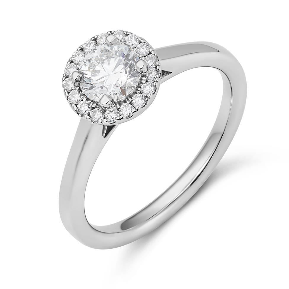 Platinum Diamond Halo Engagement Ring 0.70ct Thumbnail Image 0
