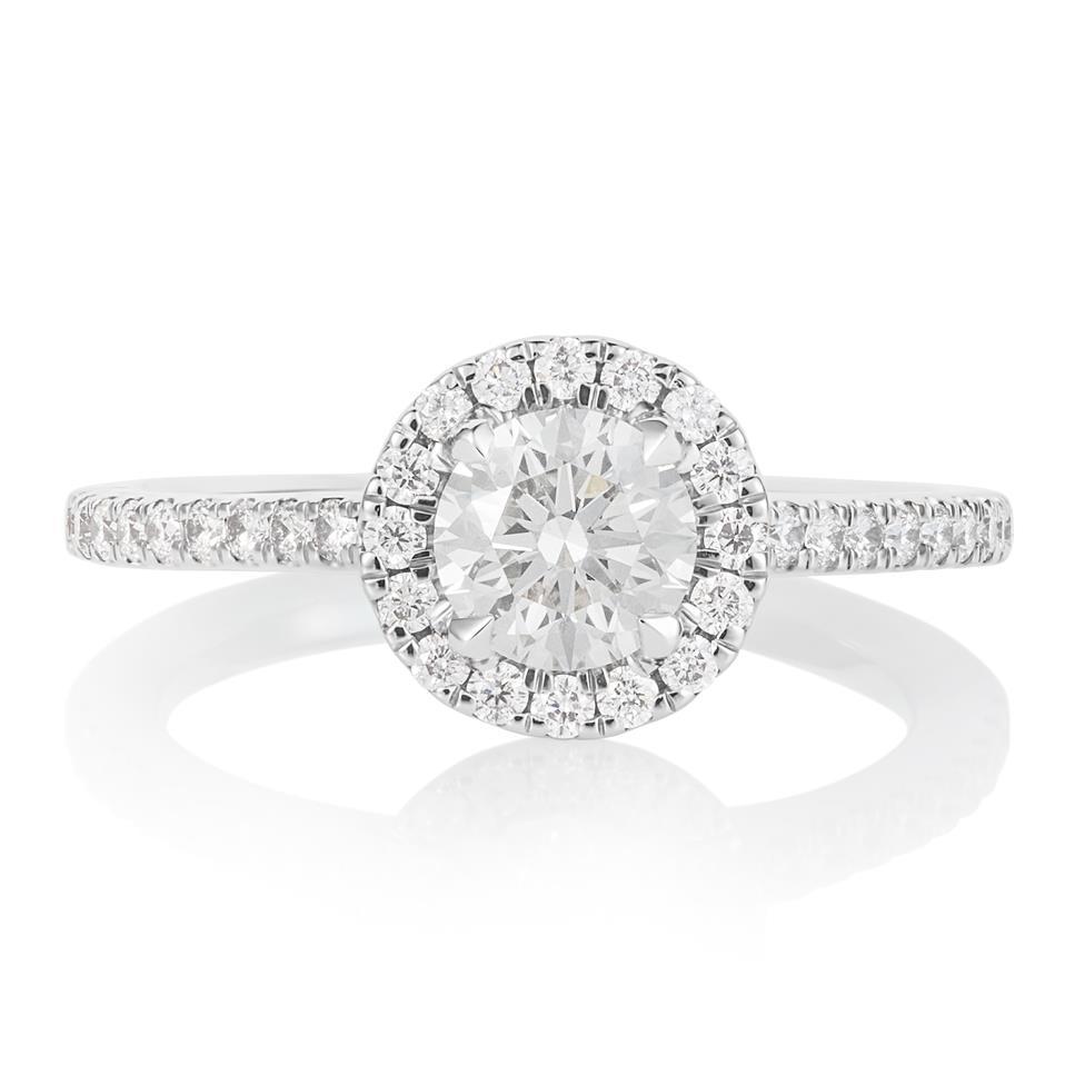 Platinum Diamond Halo Engagement Ring 1.05ct Thumbnail Image 0
