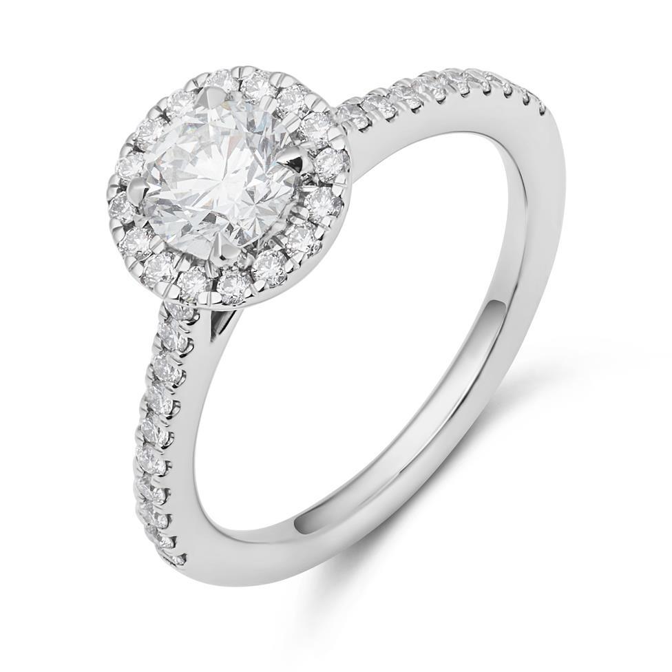 Platinum Diamond Halo Engagement Ring 1.05ct Thumbnail Image 1