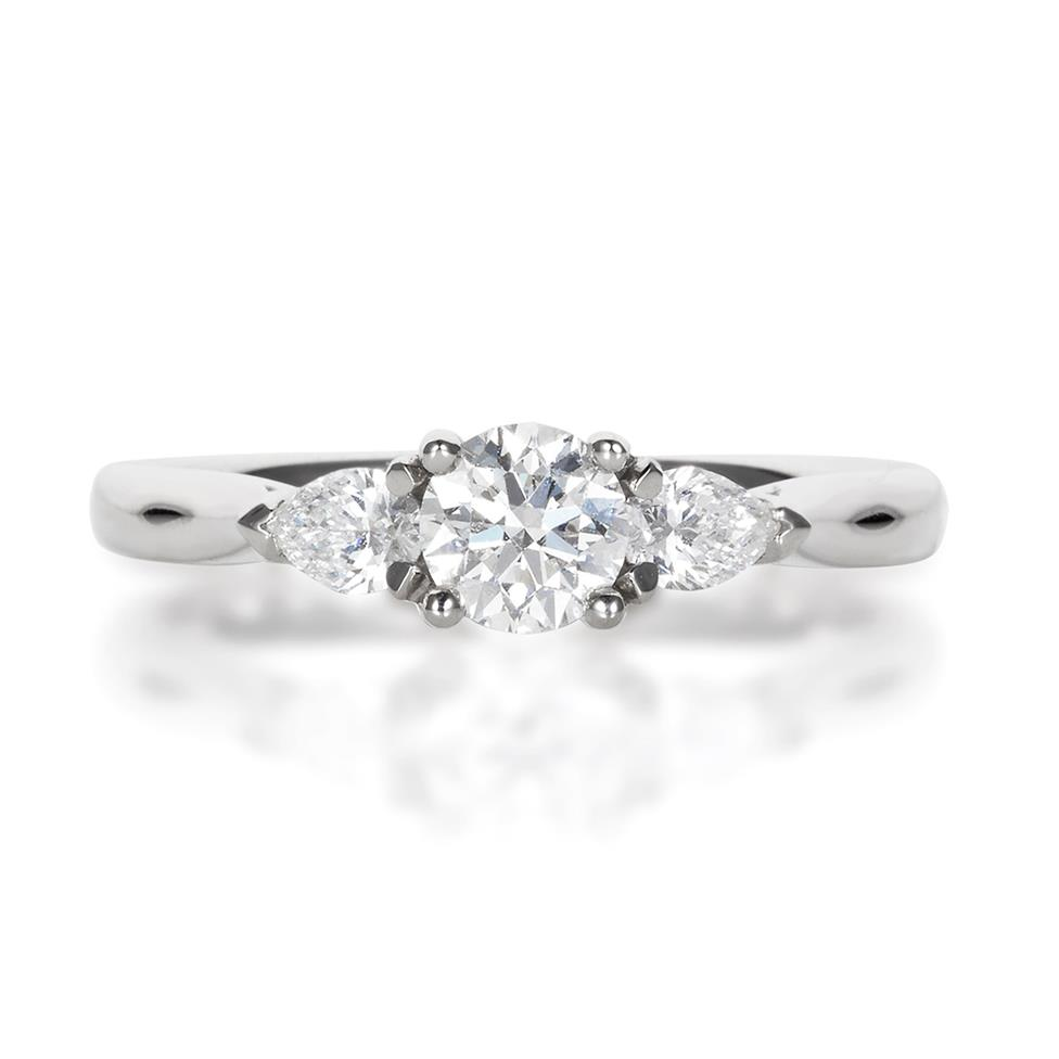 Platinum Round and Pear Shape Diamond Three Stone Engagement Ring 0.76ct Thumbnail Image 1