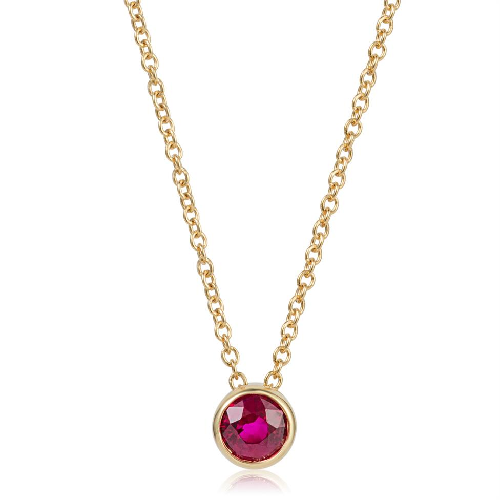 18ct Yellow Gold Ruby Solitaire Necklace Image 1