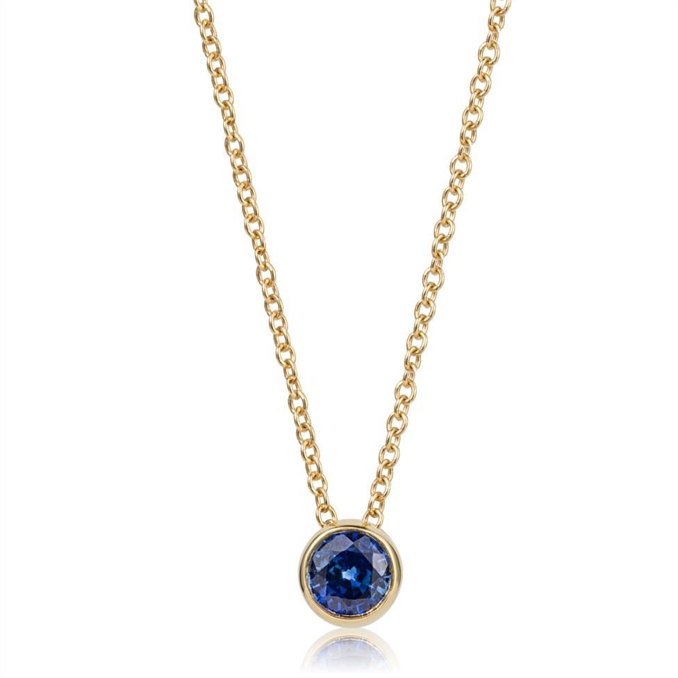 18ct Yellow Gold Sapphire Solitaire Necklace Thumbnail Image 0