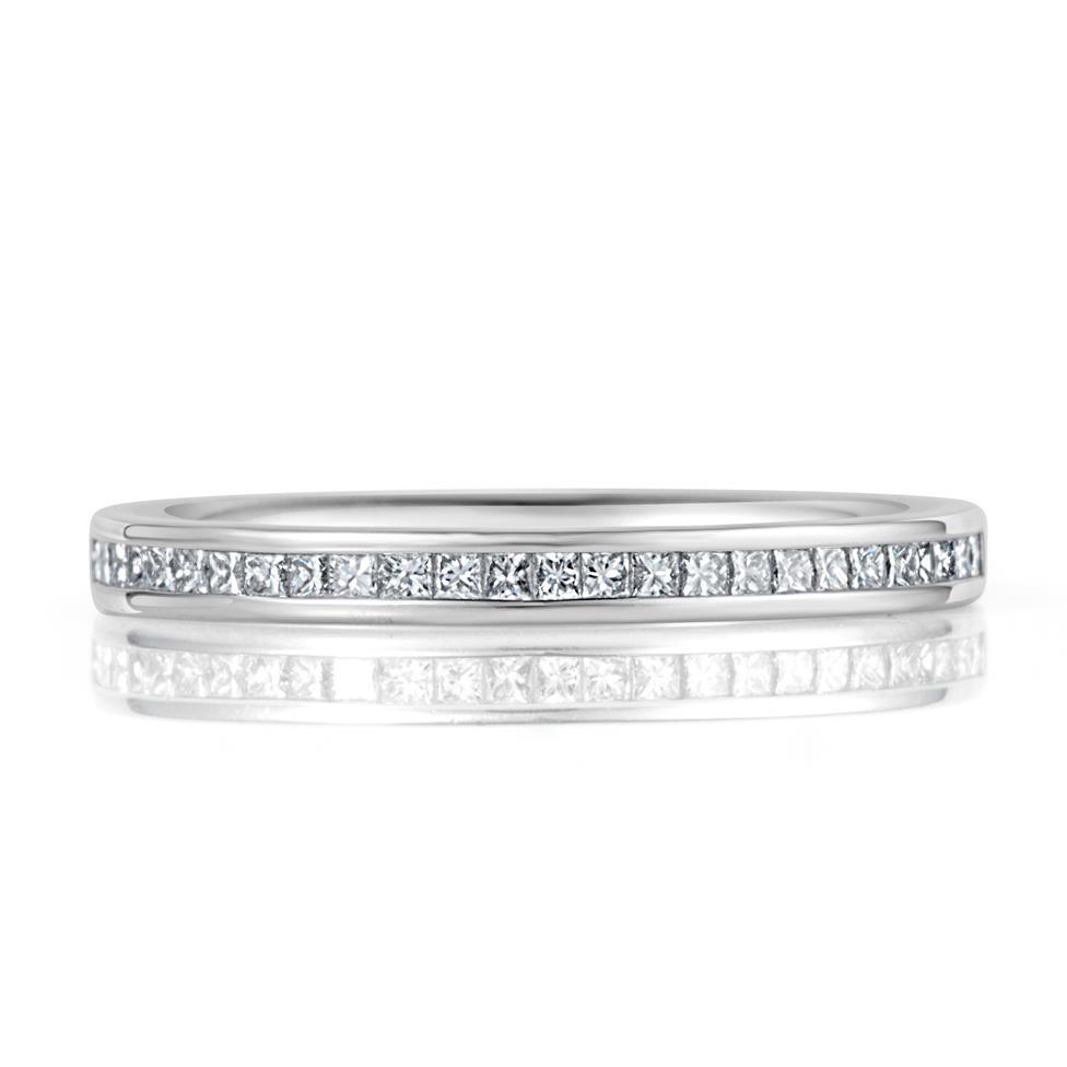 Platinum Princess Cut 0.25ct Diamond Half Channel Ring Thumbnail Image 1