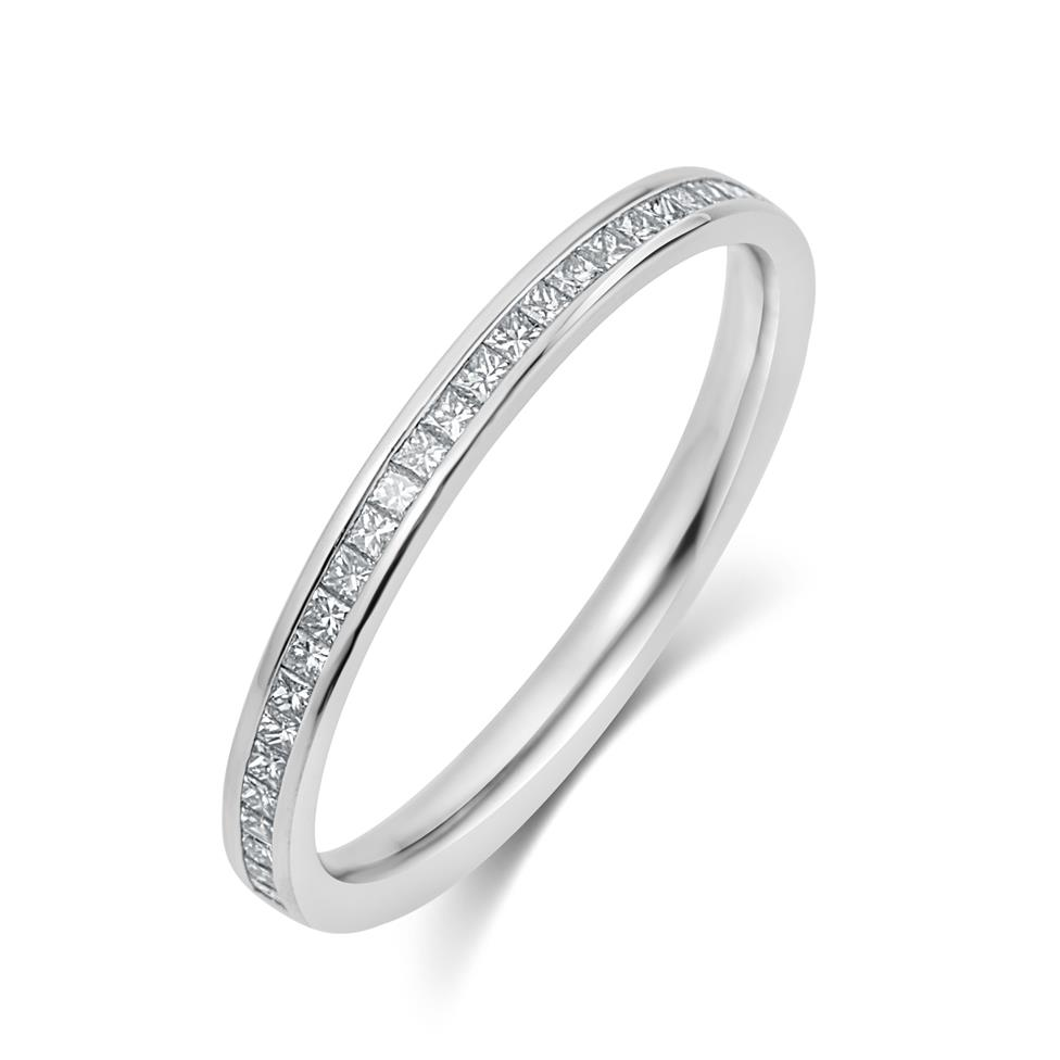 Platinum Princess Cut 0.25ct Diamond Half Channel Ring Thumbnail Image 0