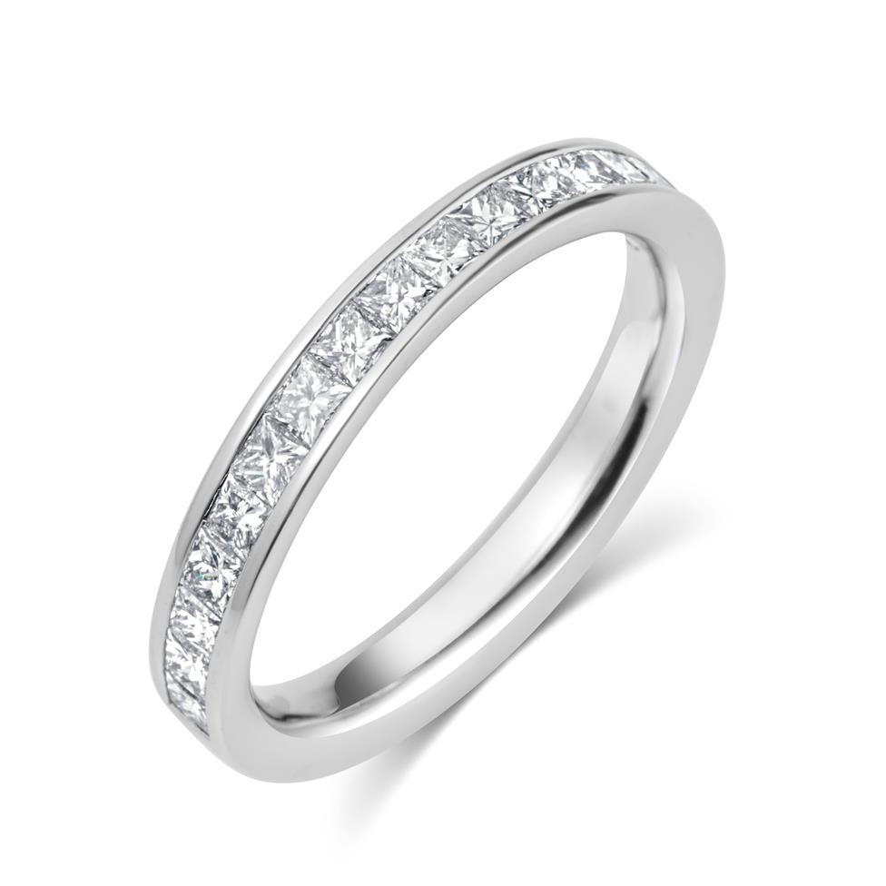 Platinum Princess Cut 0.75ct Diamond Half Channel Ring Thumbnail Image 0