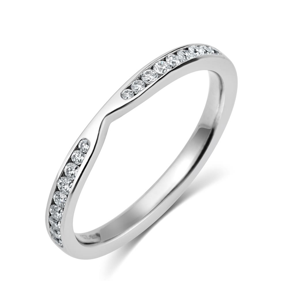 Platinum Diamond Set Wedding Ring 0.25ct Image 1