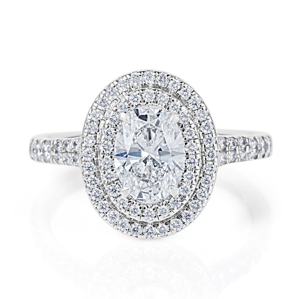 Platinum Oval Diamond Double Halo Engagement Ring 1.50ct Thumbnail Image 1