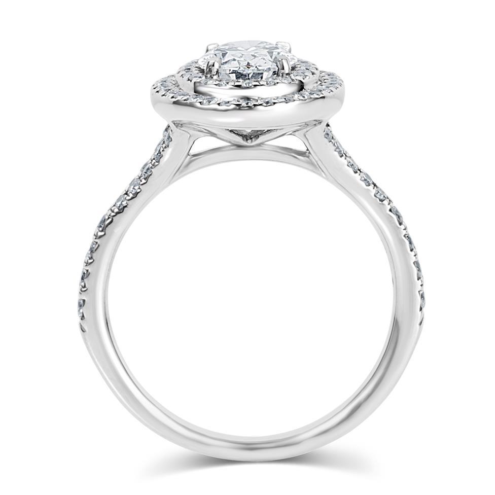 Platinum Oval Diamond Double Halo Engagement Ring 1.20ct Thumbnail Image 2