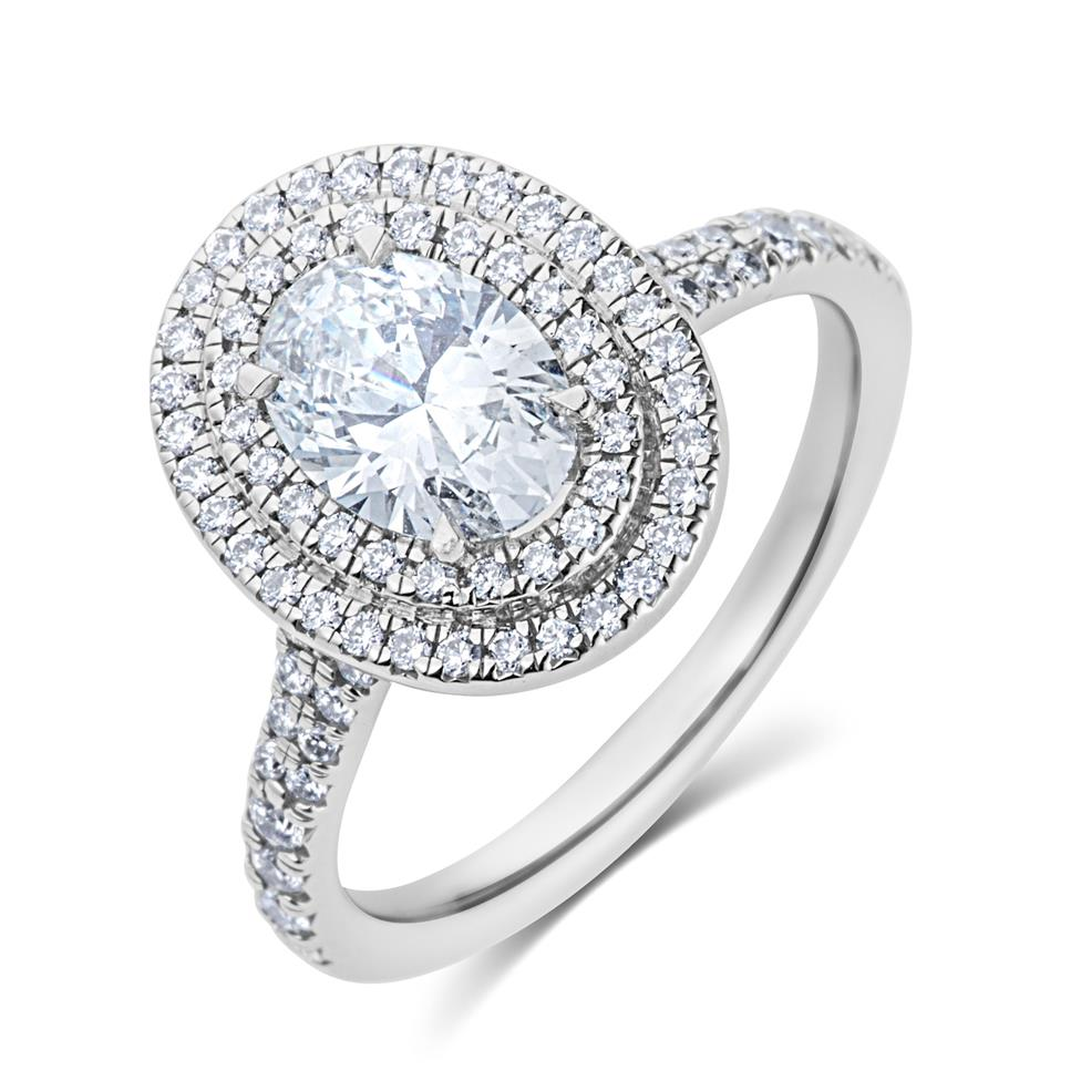 Platinum Oval Diamond Double Halo Engagement Ring 1.20ct Thumbnail Image 0