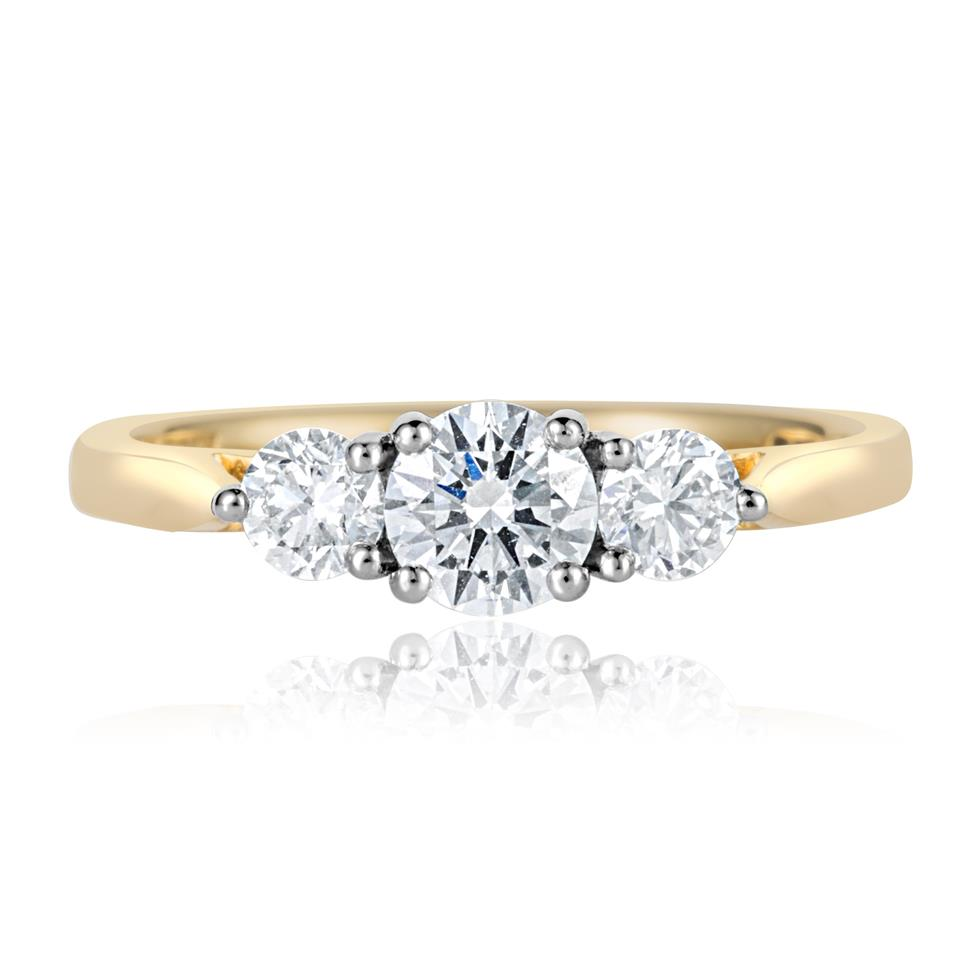 18ct Yellow Gold Diamond Three Stone Engagement Ring 0.75ct Thumbnail Image 1