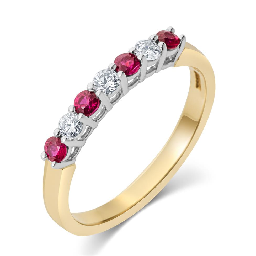 18ct Yellow Gold Ruby and Diamond Half Eternity Ring Thumbnail Image 0