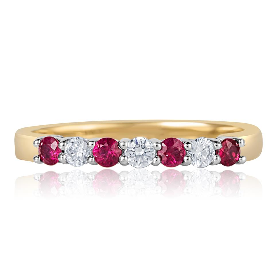 18ct Yellow Gold Ruby and Diamond Half Eternity Ring Thumbnail Image 1