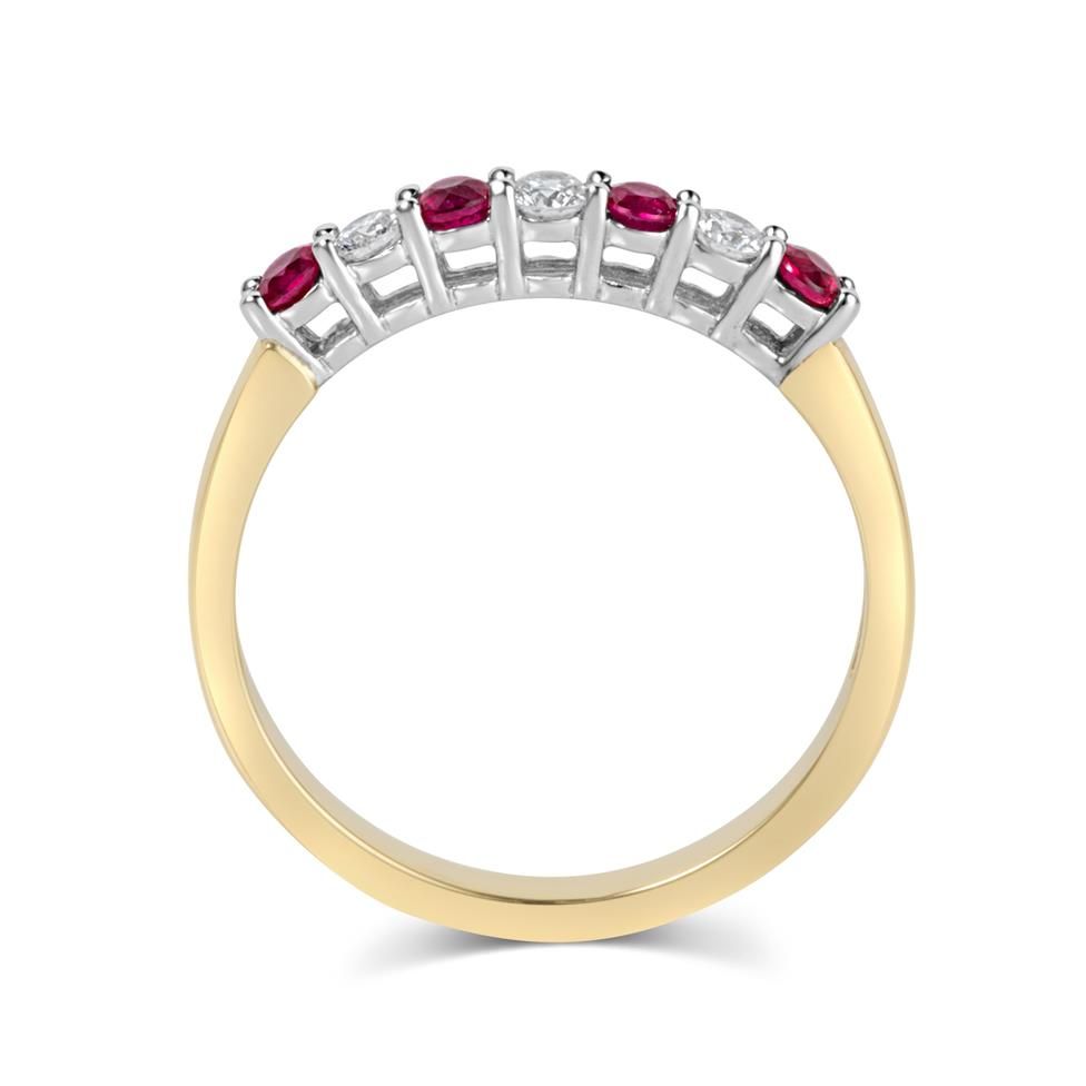 18ct Yellow Gold Ruby and Diamond Half Eternity Ring Thumbnail Image 2