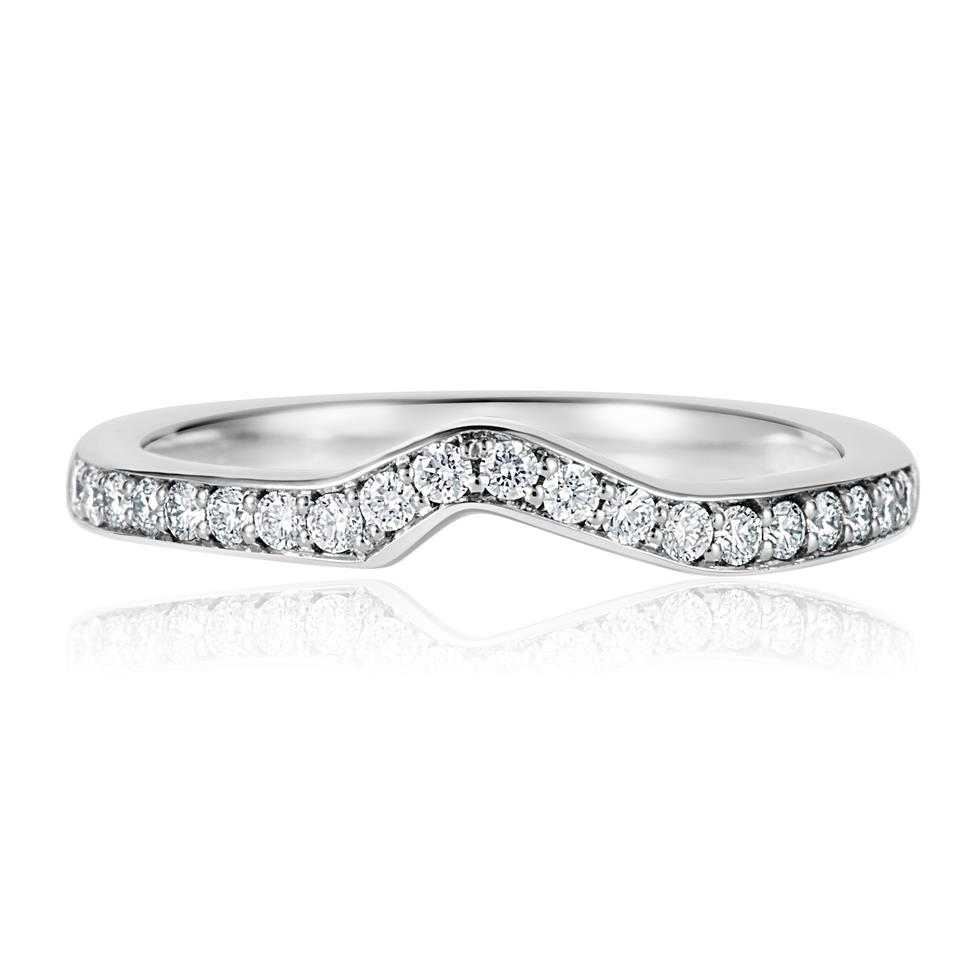 Platinum Diamond Set Shaped Wedding Ring 0.23ct Thumbnail Image 1
