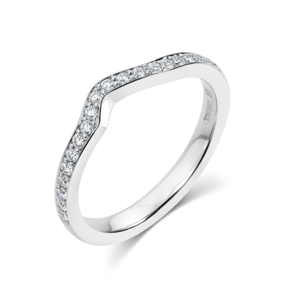 Platinum Diamond Set Shaped Wedding Ring 0.23ct Thumbnail Image 0
