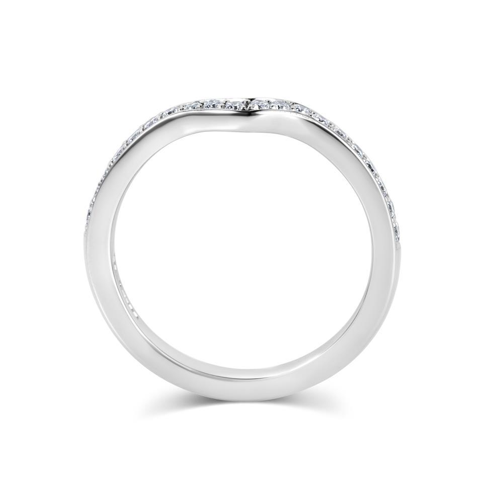 Platinum Diamond Set Shaped Wedding Ring 0.23ct Thumbnail Image 2