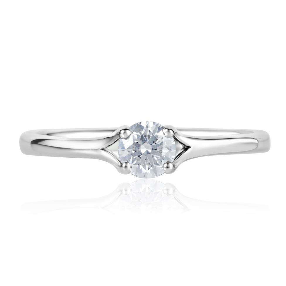 Platinum Split Shoulder Detail Diamond Solitaire Engagement Ring 0.35ct Thumbnail Image 1