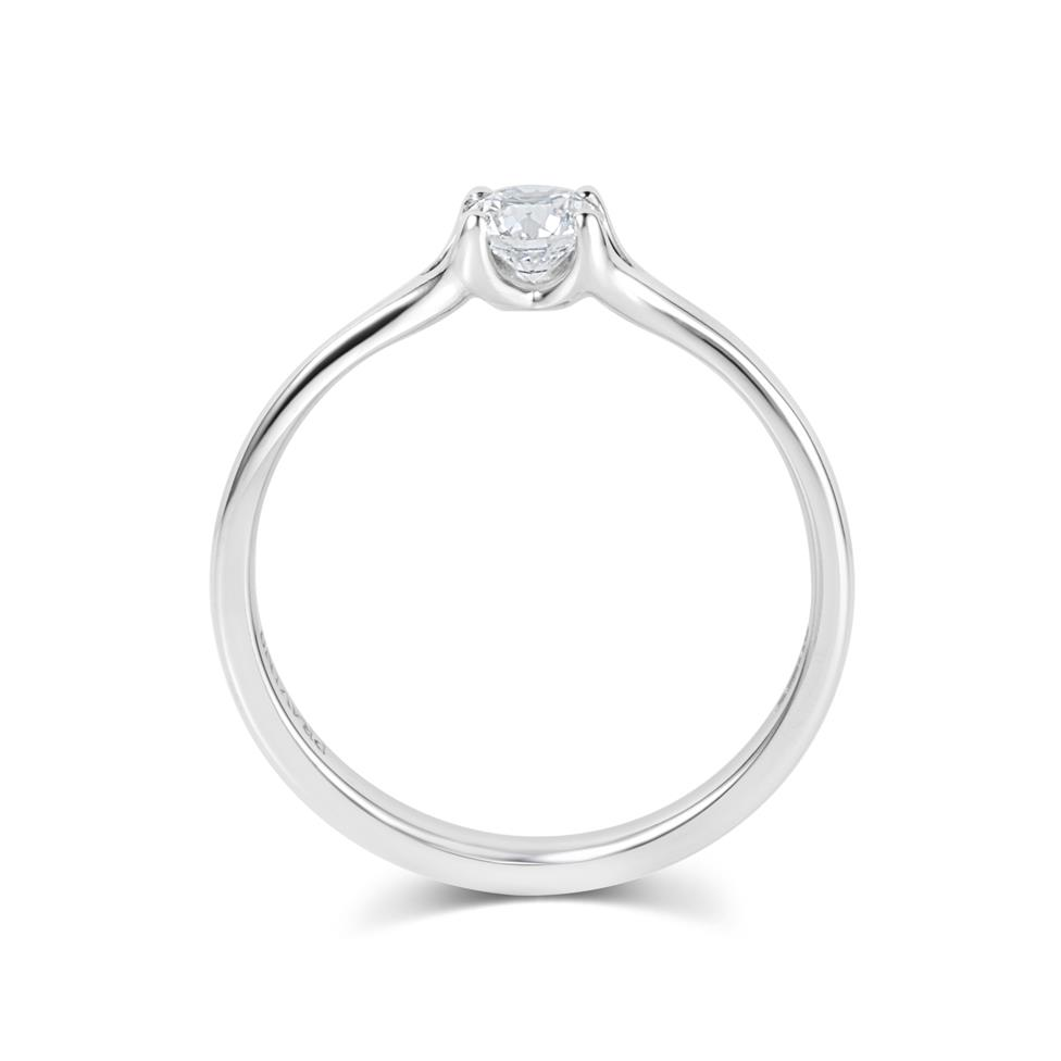 Platinum Split Shoulder Detail Diamond Solitaire Engagement Ring 0.35ct Thumbnail Image 2