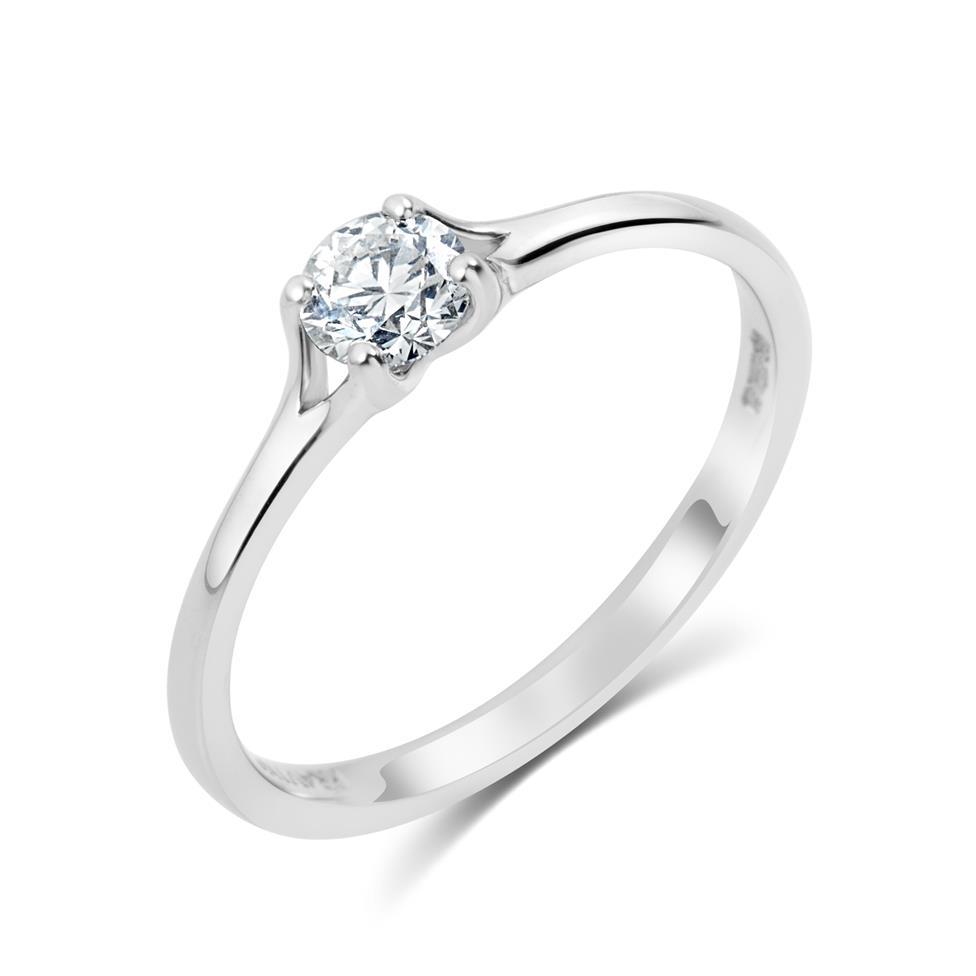 Platinum Split Shoulder Detail Diamond Solitaire Engagement Ring 0.35ct Thumbnail Image 0
