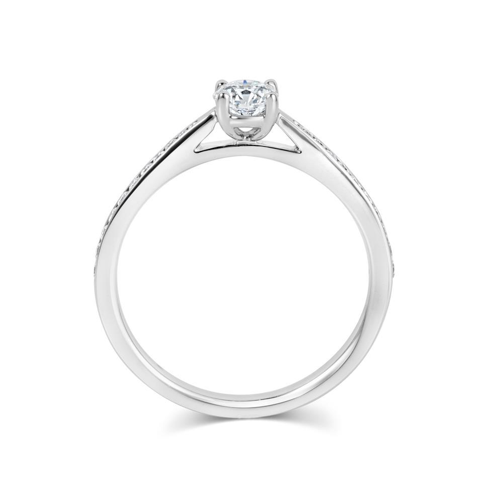 Platinum Channel Shoulder Detail Diamond Solitaire Engagement Ring 0.55ct Thumbnail Image 2