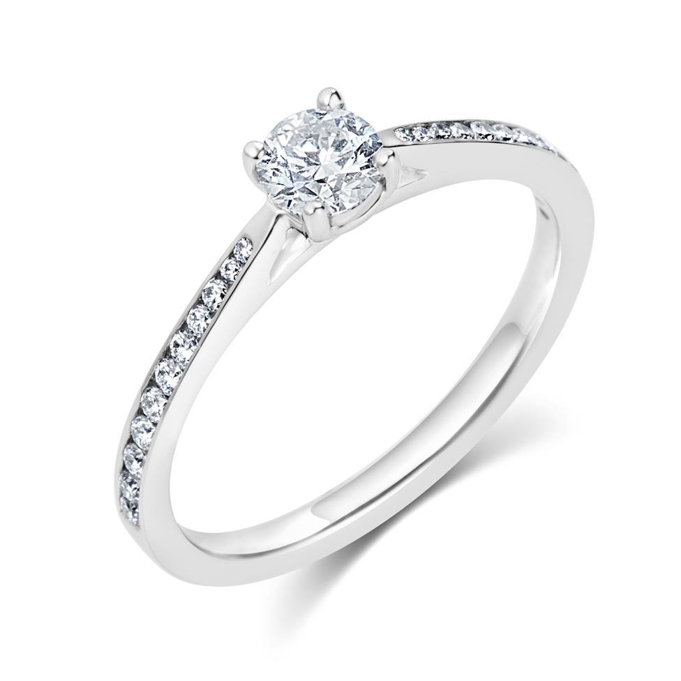 Platinum Channel Shoulder Detail Diamond Solitaire Engagement Ring 0.55ct Thumbnail Image 0