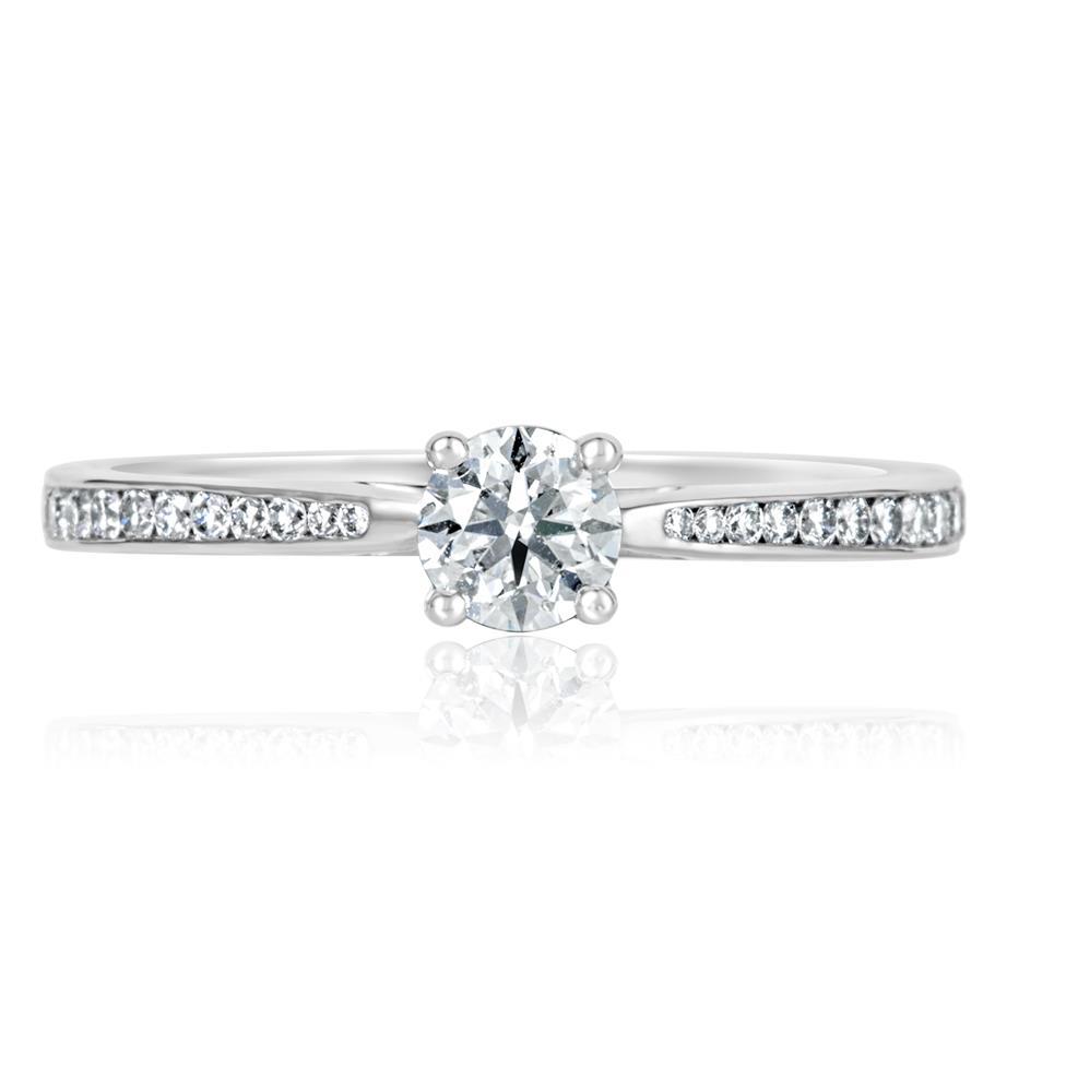 Platinum Channel Shoulder Detail Diamond Solitaire Engagement Ring 0.55ct Thumbnail Image 1