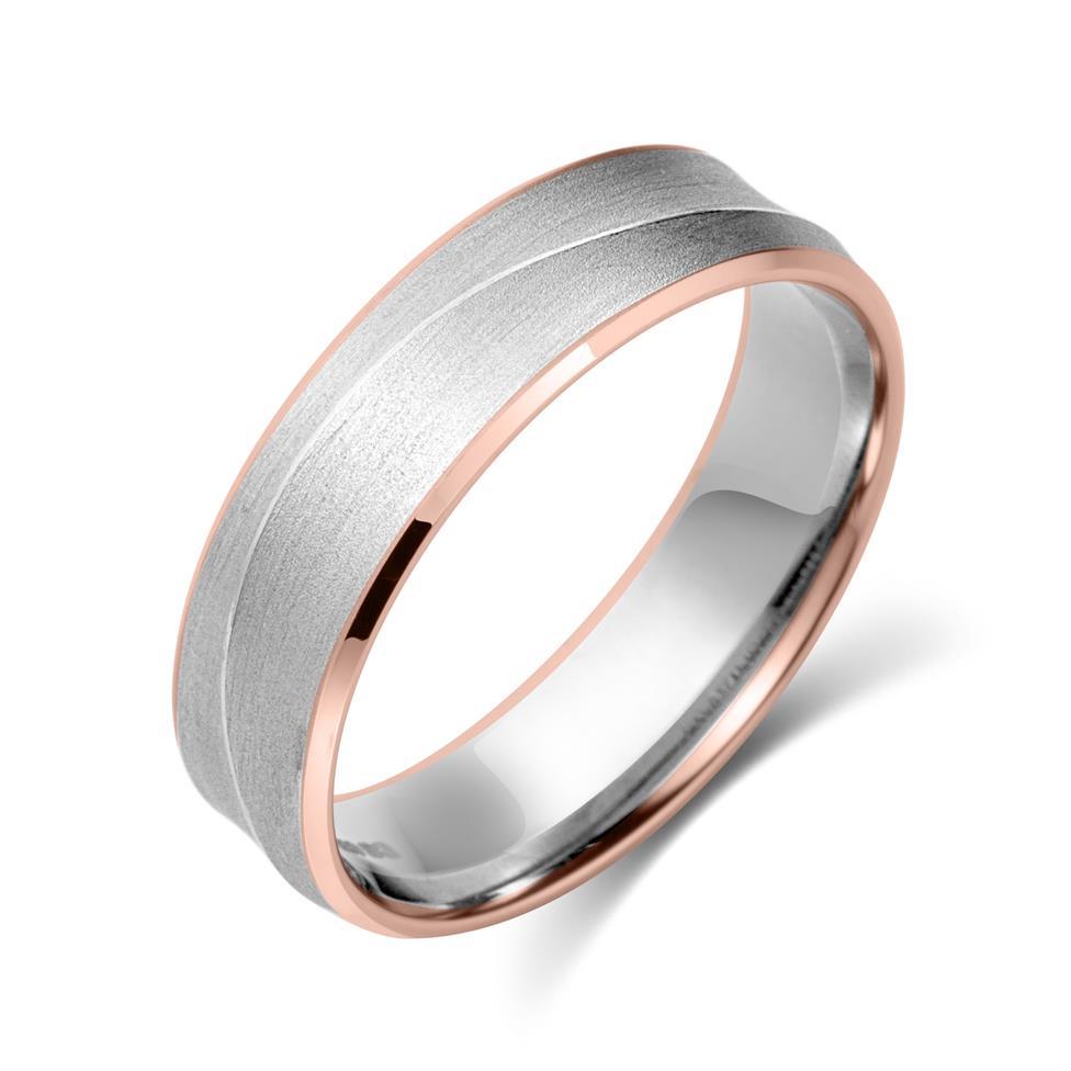 Palladium and 18ct Rose Gold Curved Ridge Detail Wedding Ring Thumbnail Image 0