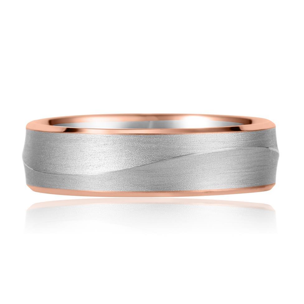 Palladium and 18ct Rose Gold Curved Ridge Detail Wedding Ring Thumbnail Image 1