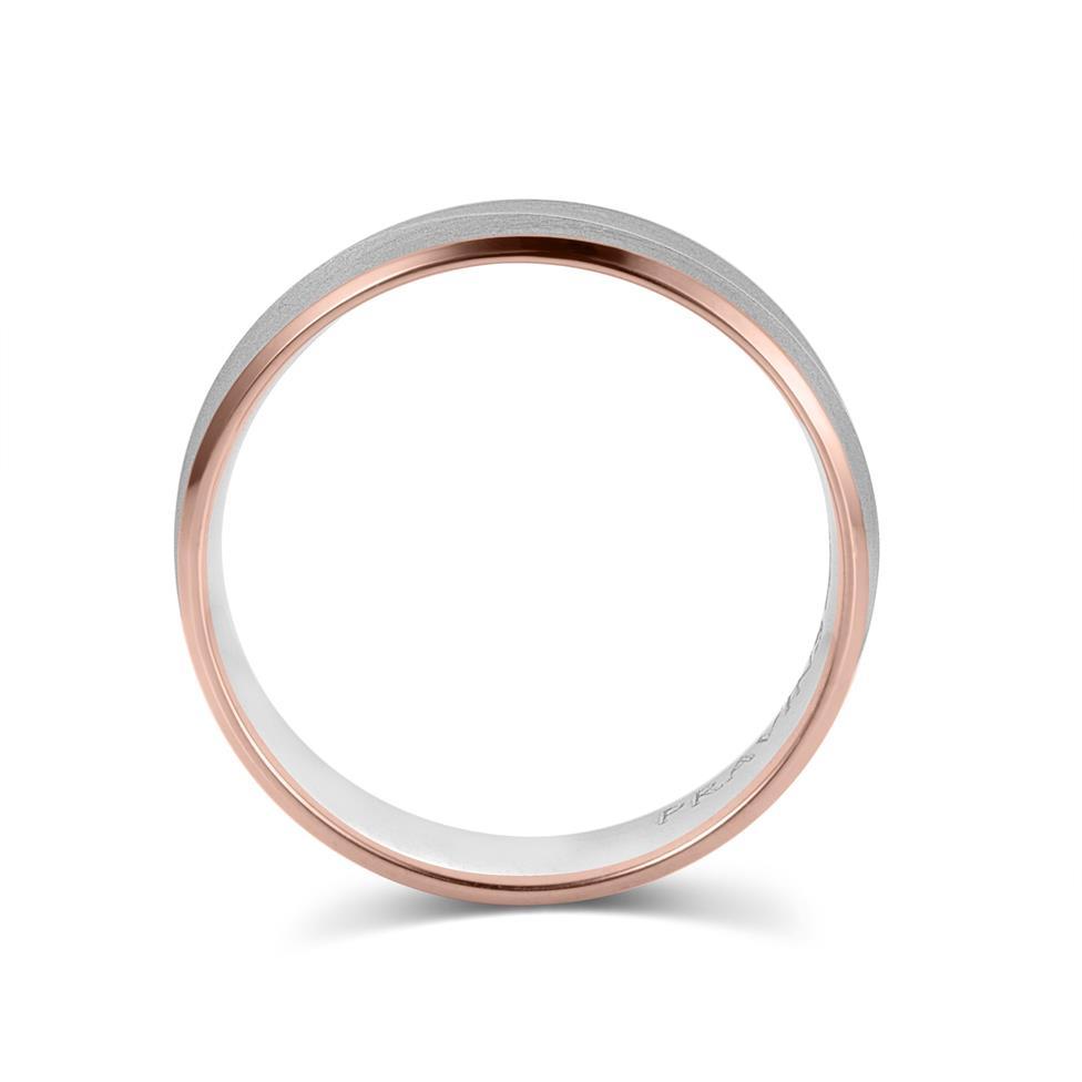 Palladium and 18ct Rose Gold Curved Ridge Detail Wedding Ring Thumbnail Image 2