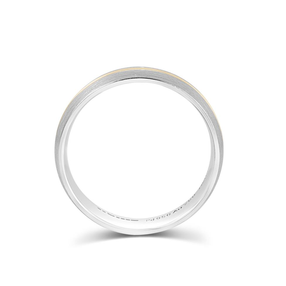 Palladium and 18ct Yellow Gold Wedding Band Thumbnail Image 2