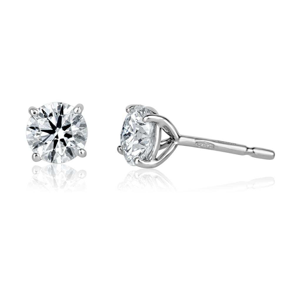 18ct White Gold Diamond Solitaire Stud Earrings 1.40ct Thumbnail Image 0