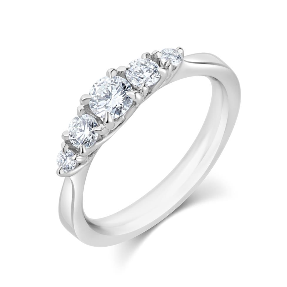 Platinum Five Stone Diamond Engagement Ring 0.50ct Thumbnail Image 0