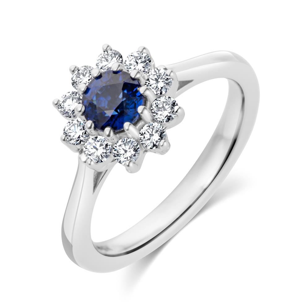 18ct White Gold Flower Design Sapphire and Diamond Ring Thumbnail Image 0
