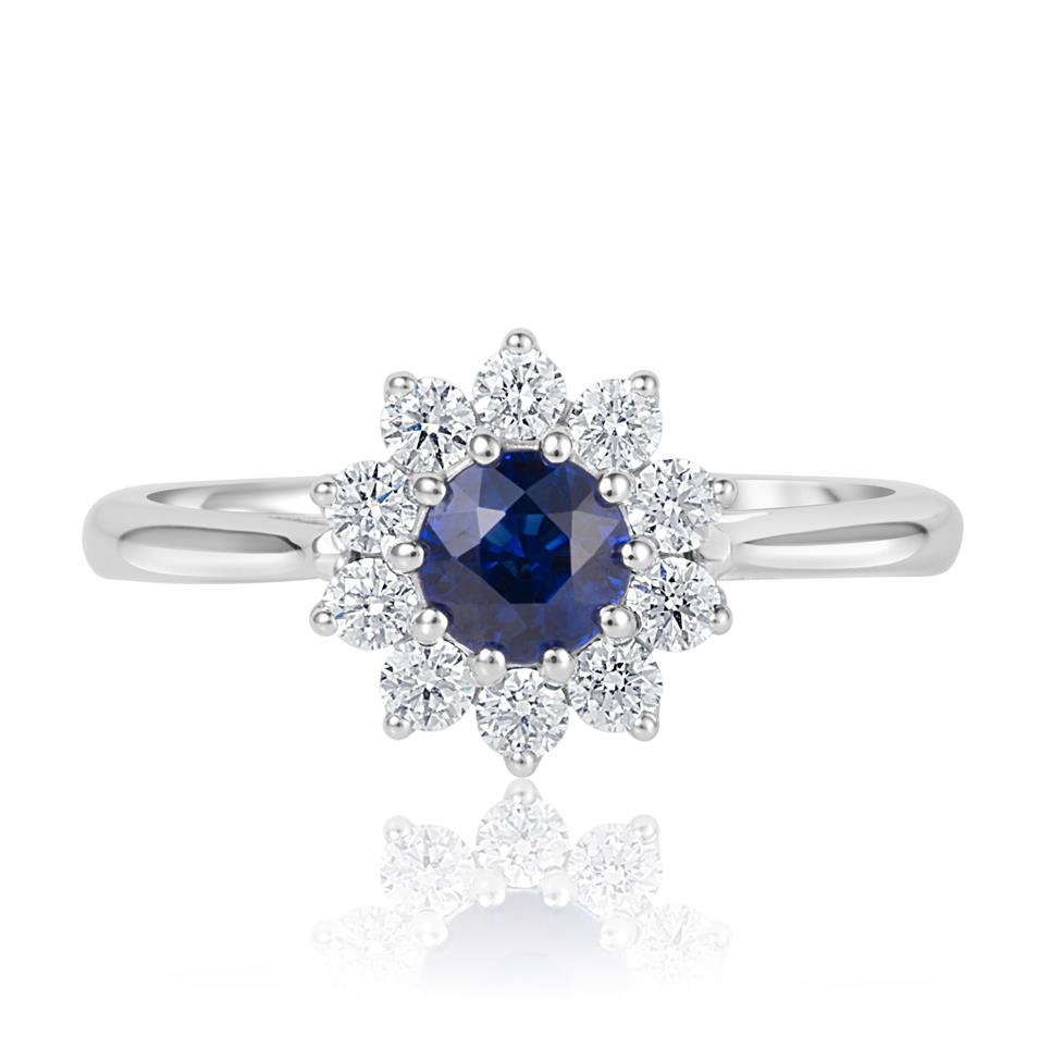 18ct White Gold Flower Design Sapphire and Diamond Ring Thumbnail Image 2