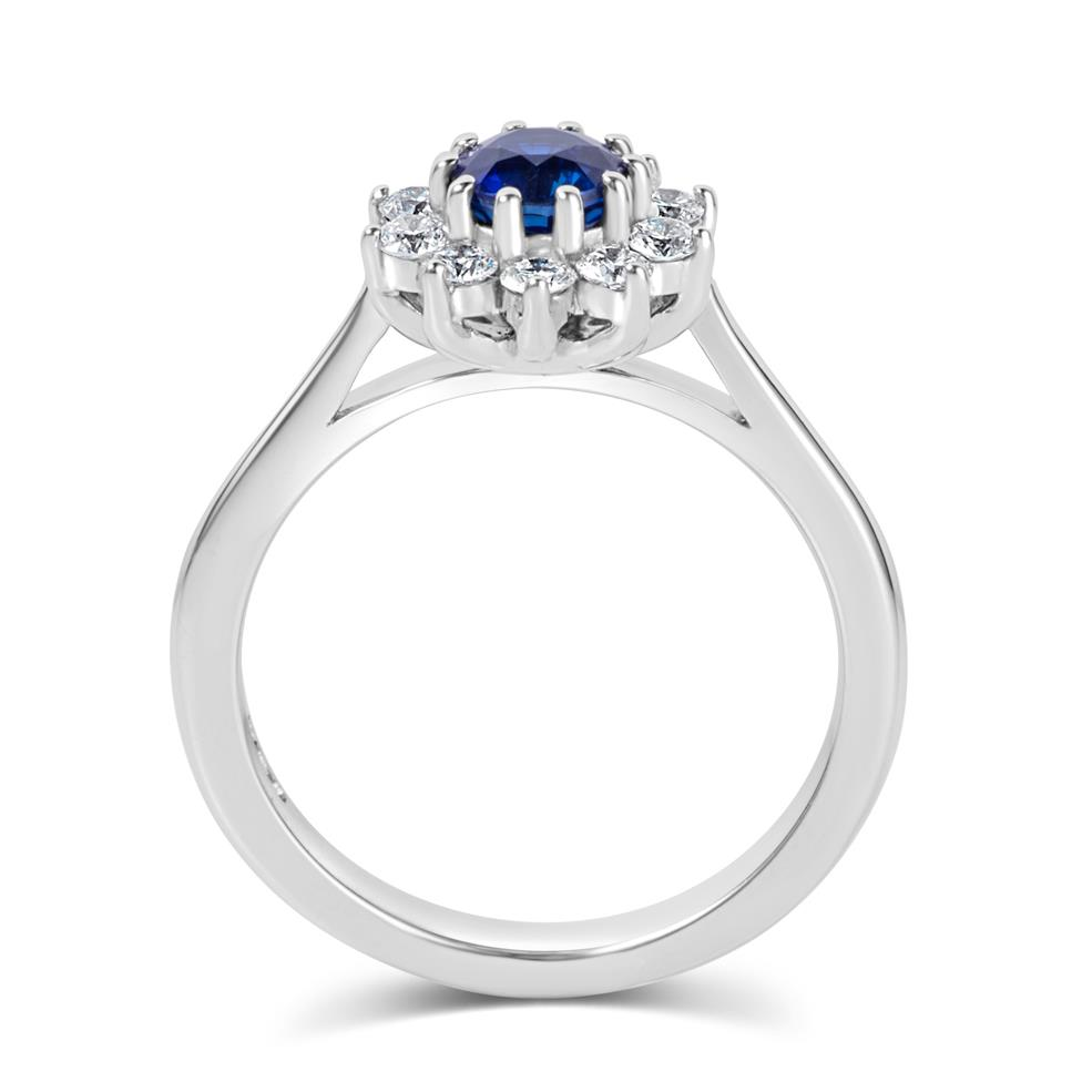 18ct White Gold Flower Design Sapphire and Diamond Ring Thumbnail Image 3