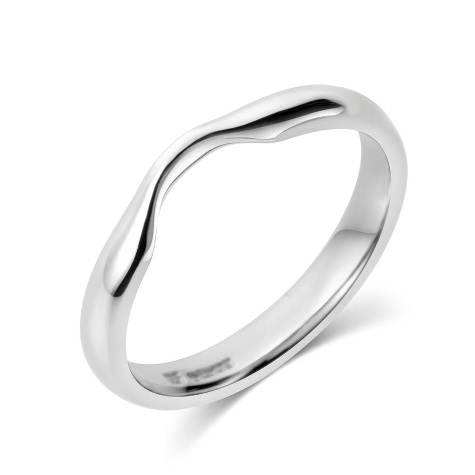 Platinum Plain Curved Ring Thumbnail Image 0
