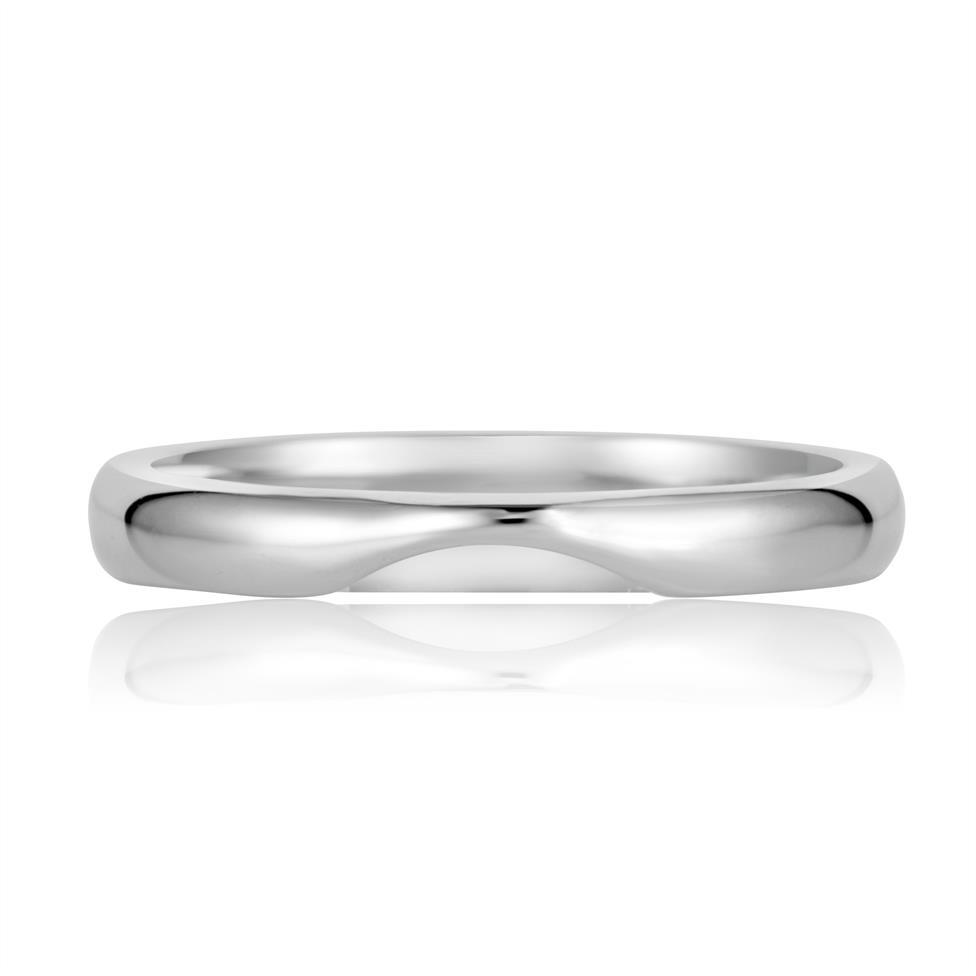 Platinum Plain Curved Ring Thumbnail Image 1