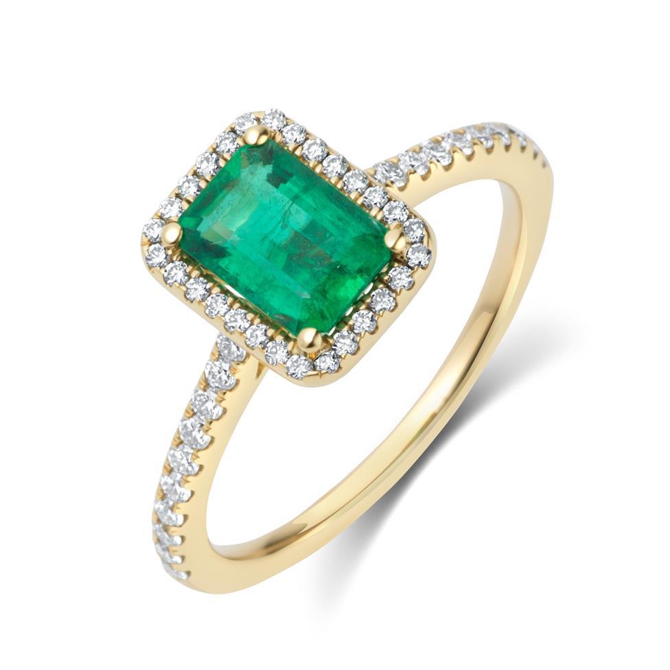 18ct Yellow Gold Emerald and Diamond Halo Engagement Ring Thumbnail Image 0