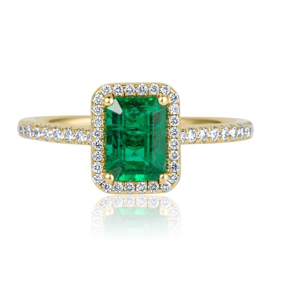18ct Yellow Gold Emerald and Diamond Halo Engagement Ring Thumbnail Image 2