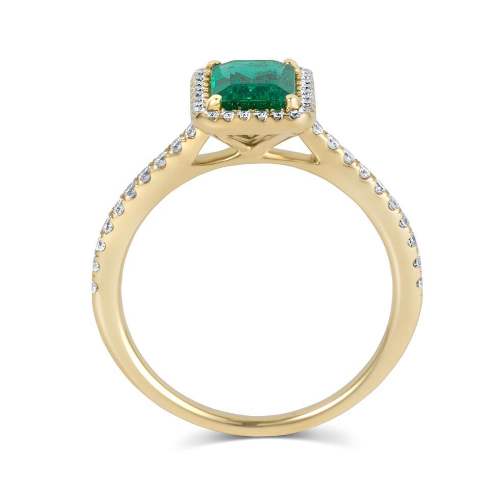 18ct Yellow Gold Emerald and Diamond Halo Engagement Ring Thumbnail Image 3