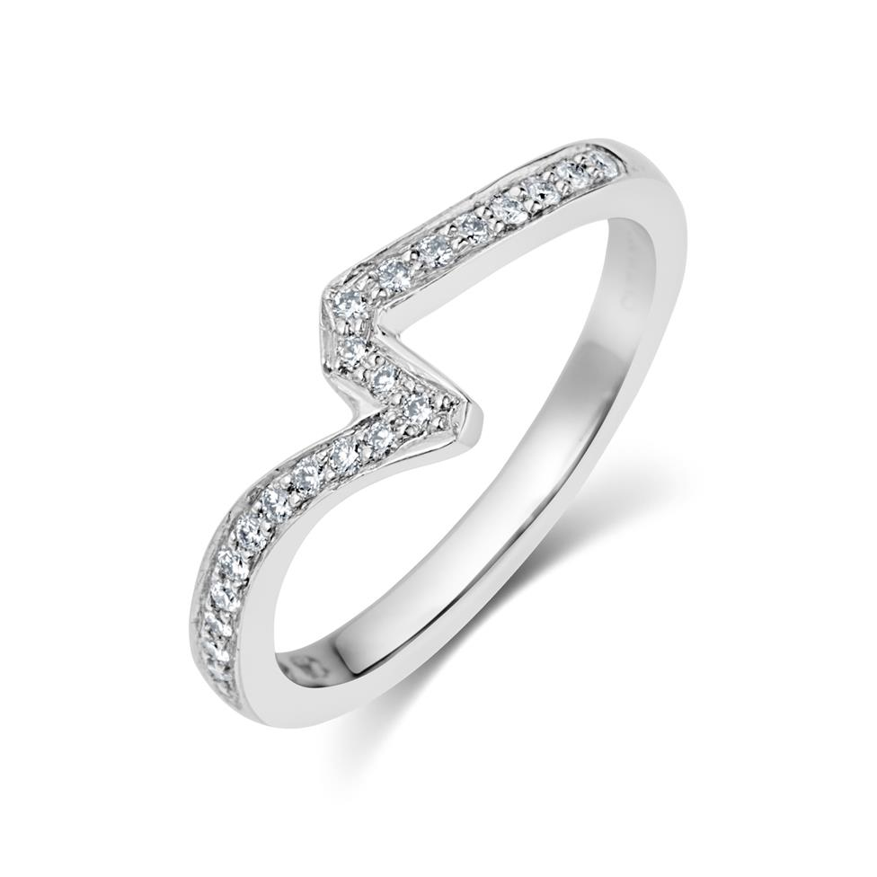 Platinum Diamond Channel Set Shaped Ring Thumbnail Image 1