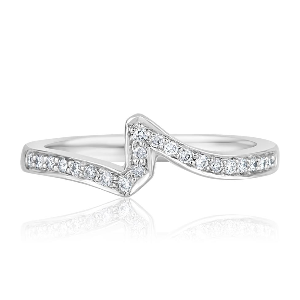Platinum Diamond Channel Set Shaped Ring Thumbnail Image 0