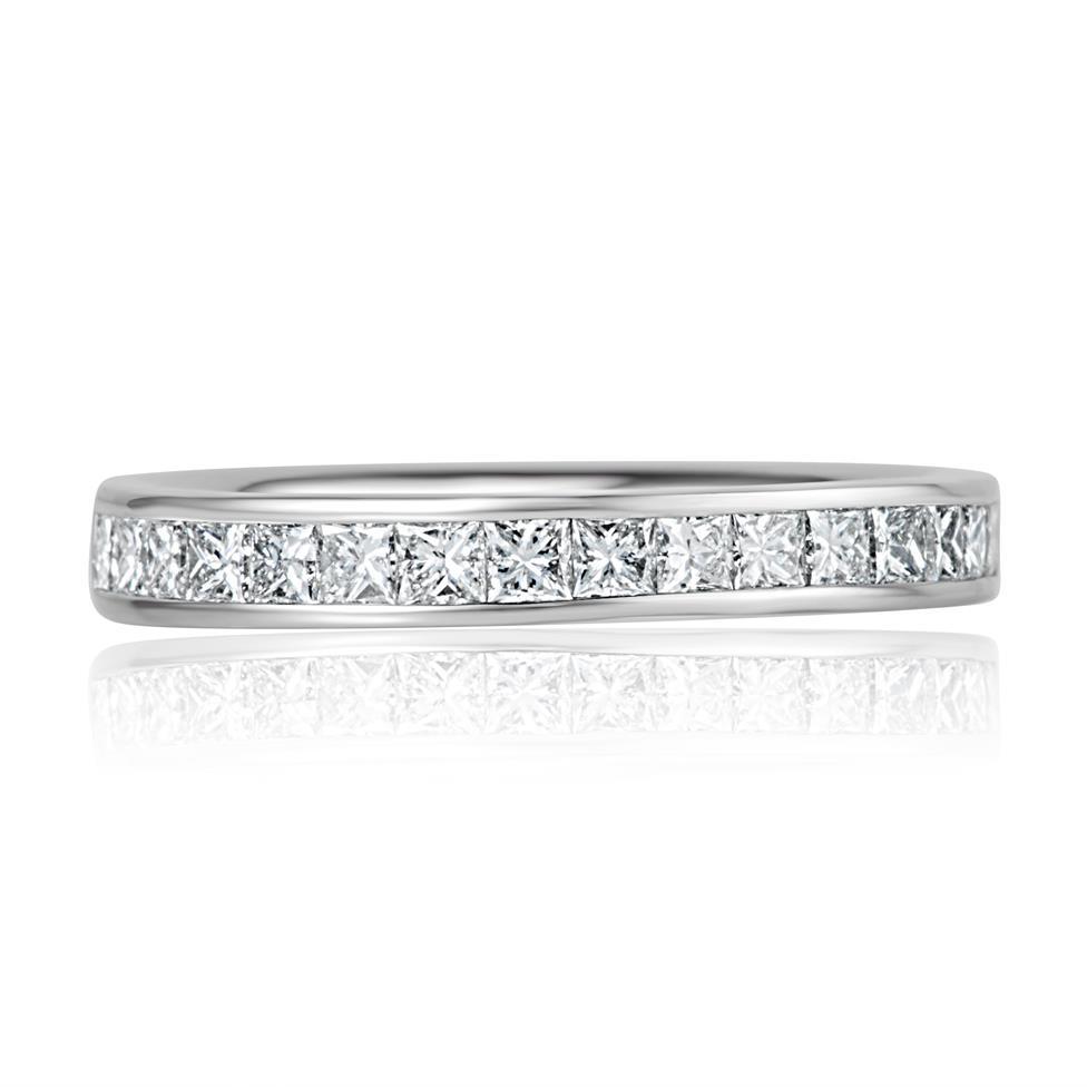 Platinum Princess Cut 0.75ct Diamond Half Channel Ring Thumbnail Image 1