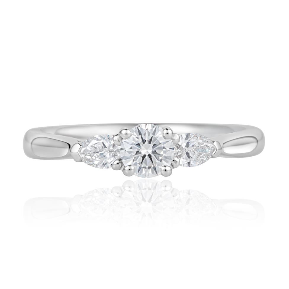 Platinum Round and Pear Shape Diamond Three Stone Engagement Ring 0.62ct Thumbnail Image 1