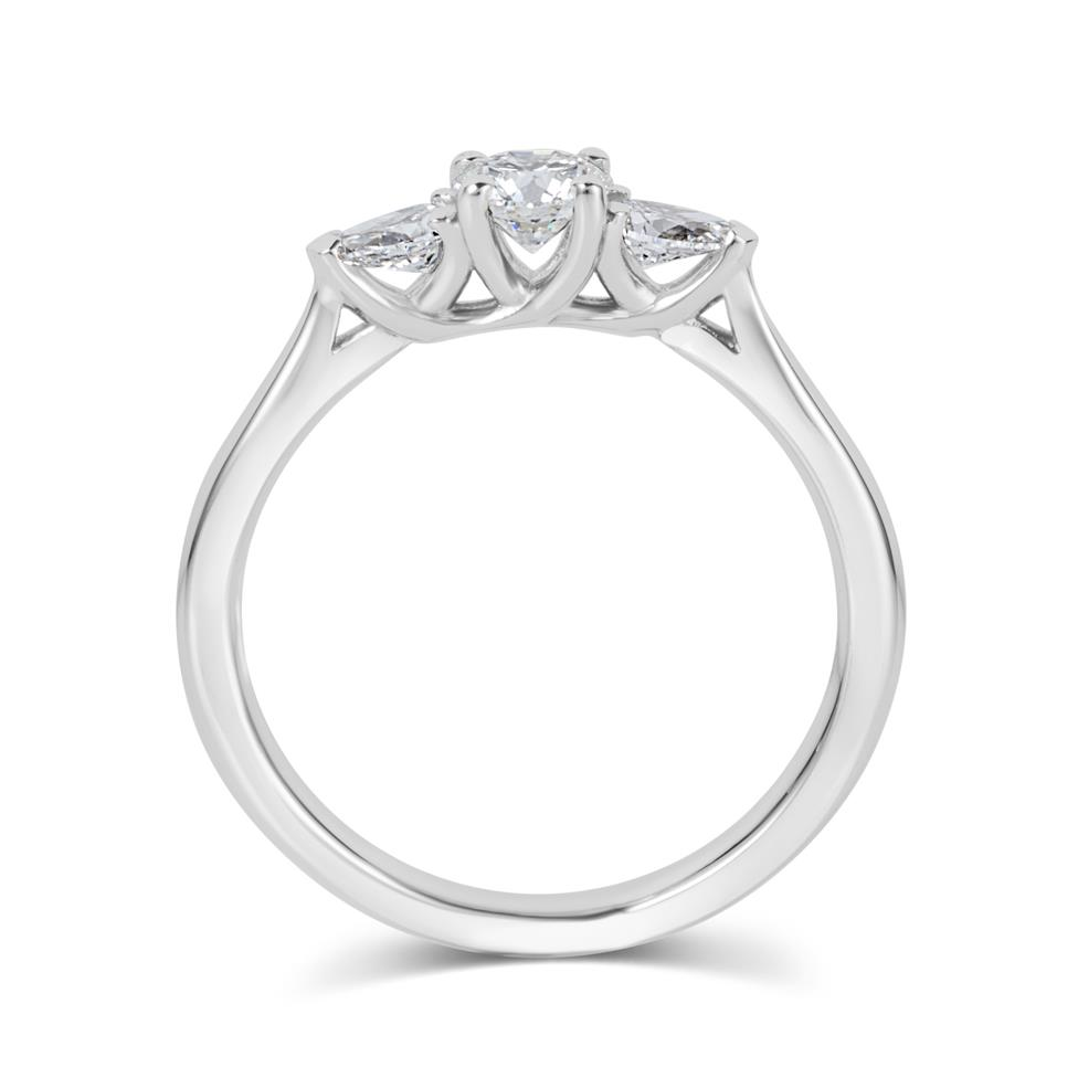 Platinum Round and Pear Shape Diamond Three Stone Engagement Ring 0.62ct Thumbnail Image 2