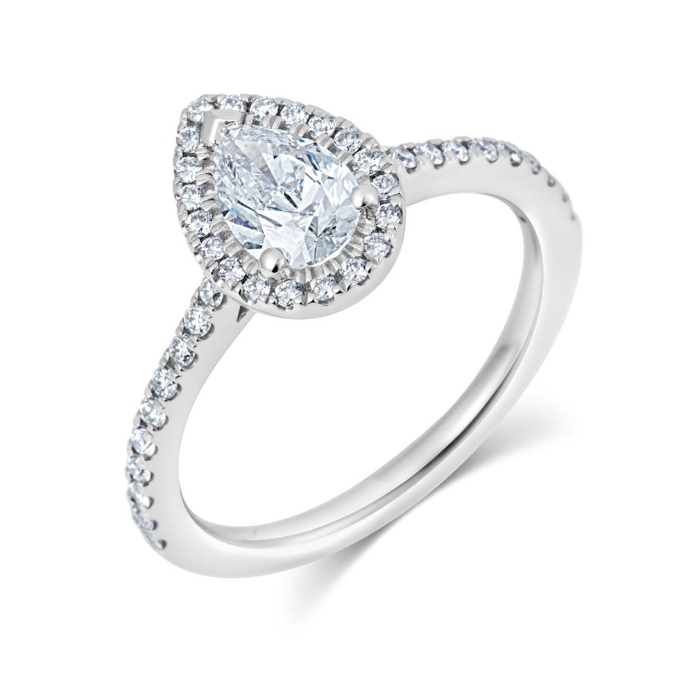 Platinum Pear Shape Diamond Halo Engagement Ring 1.05ct Thumbnail Image 0