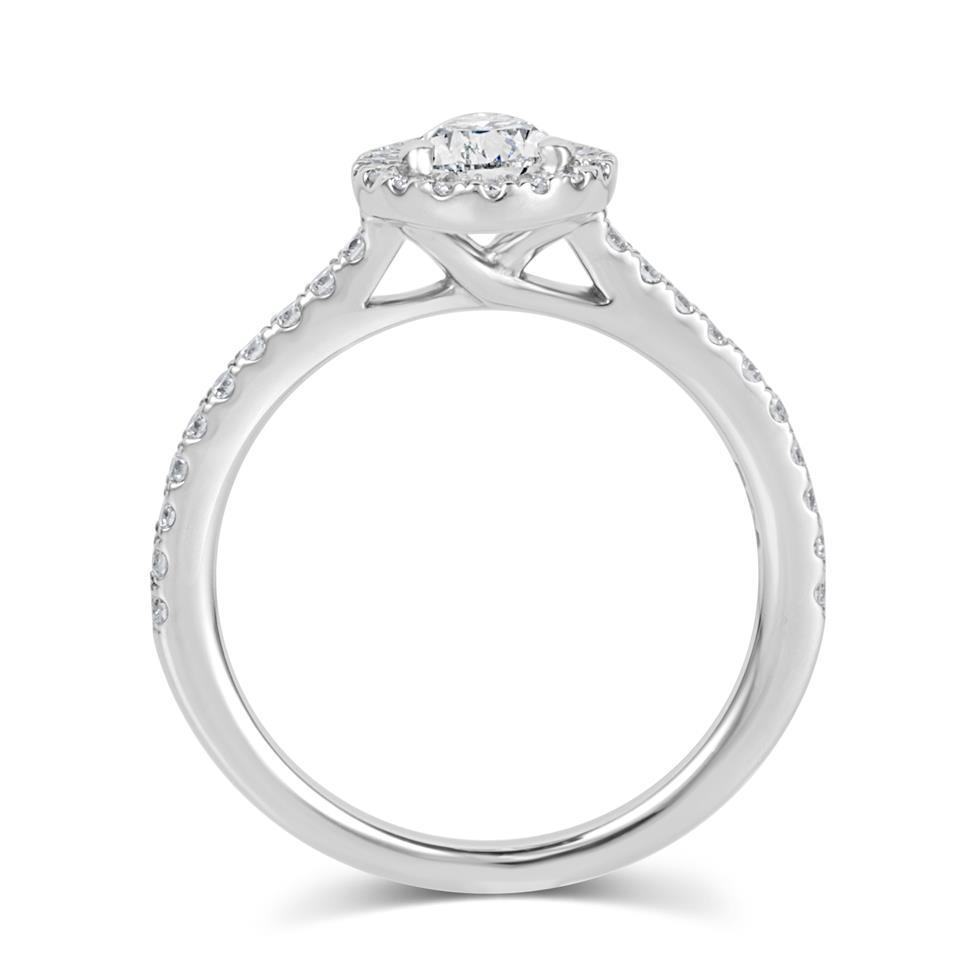 Platinum Pear Shape Diamond Halo Engagement Ring 1.05ct Thumbnail Image 3