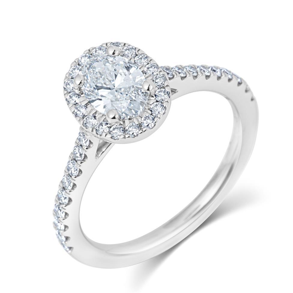 Platinum Oval Diamond Halo Engagement Ring 1.05ct Thumbnail Image 0