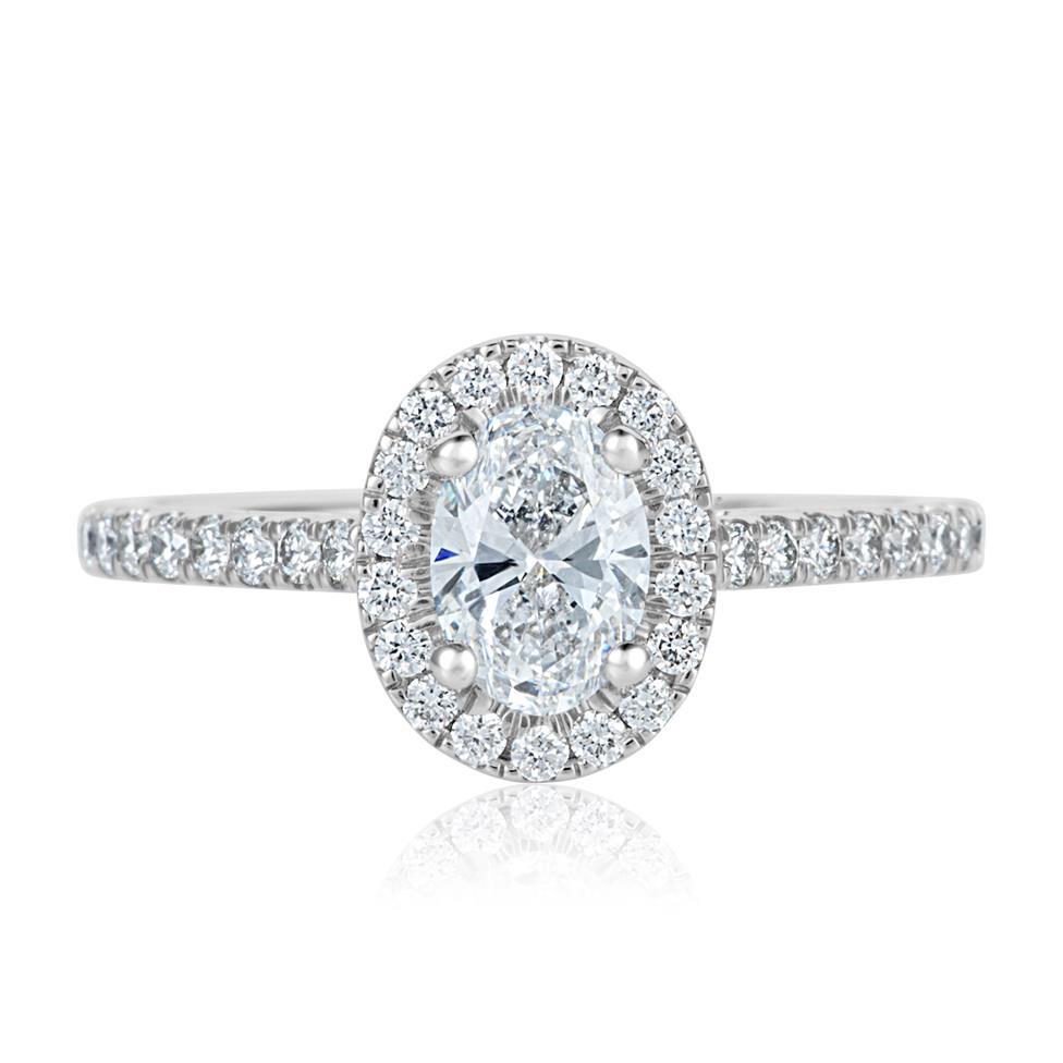 Platinum Oval Diamond Halo Engagement Ring 1.05ct Thumbnail Image 1